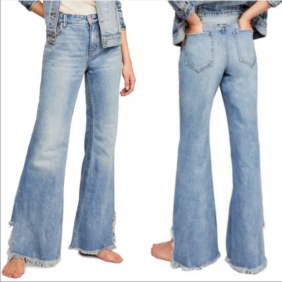 Free People Vintage Flare Raw hem denim jeans 24